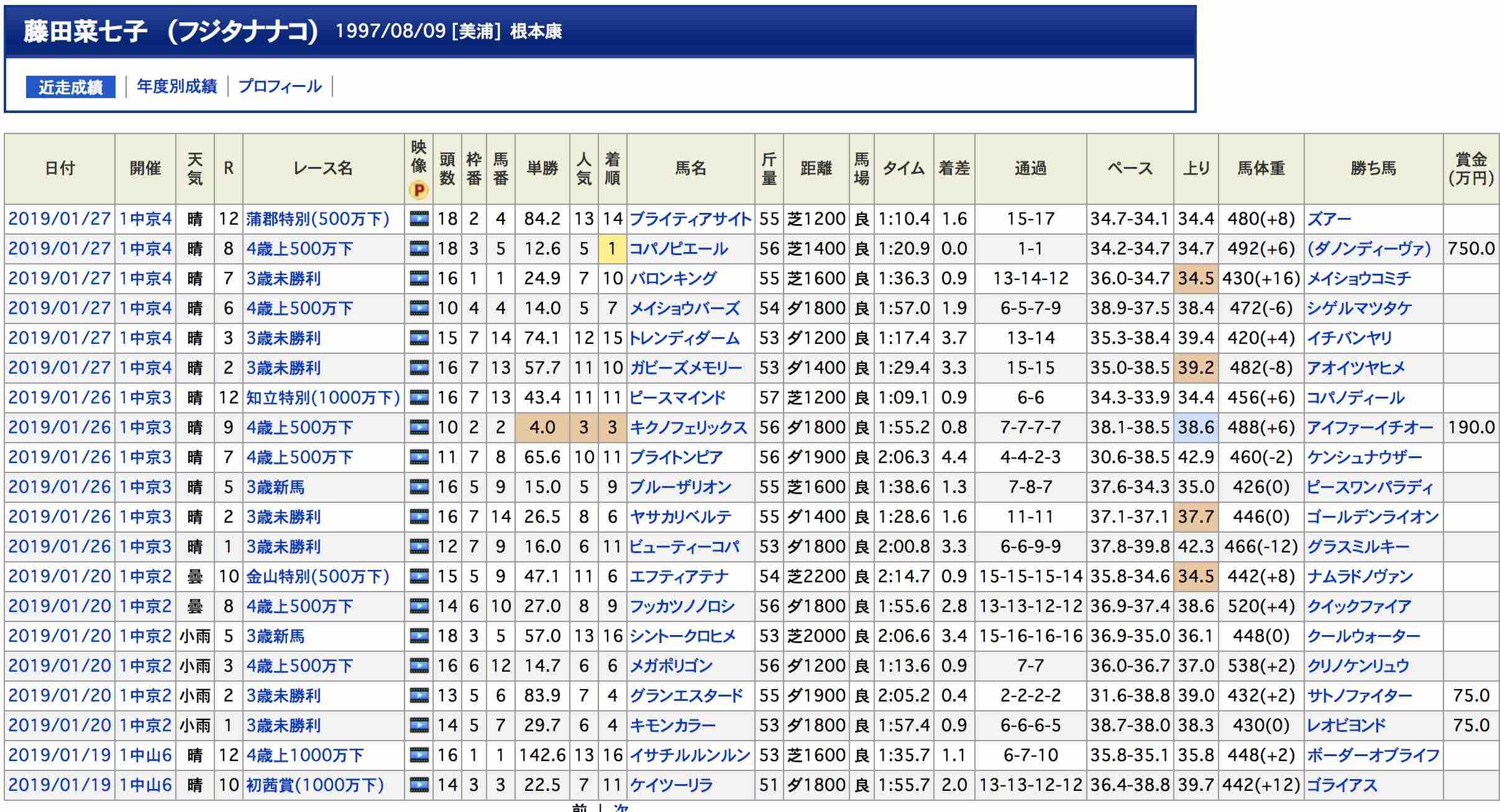 藤田菜七子騎手の2019年の成績