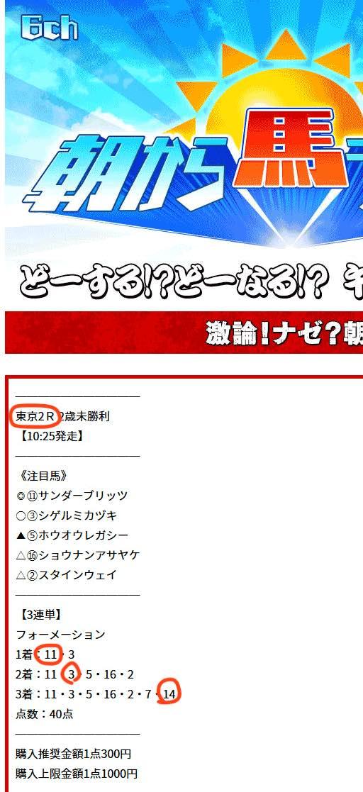 UMAちゃんねるという競馬予想サイトで最近的中したレース結果