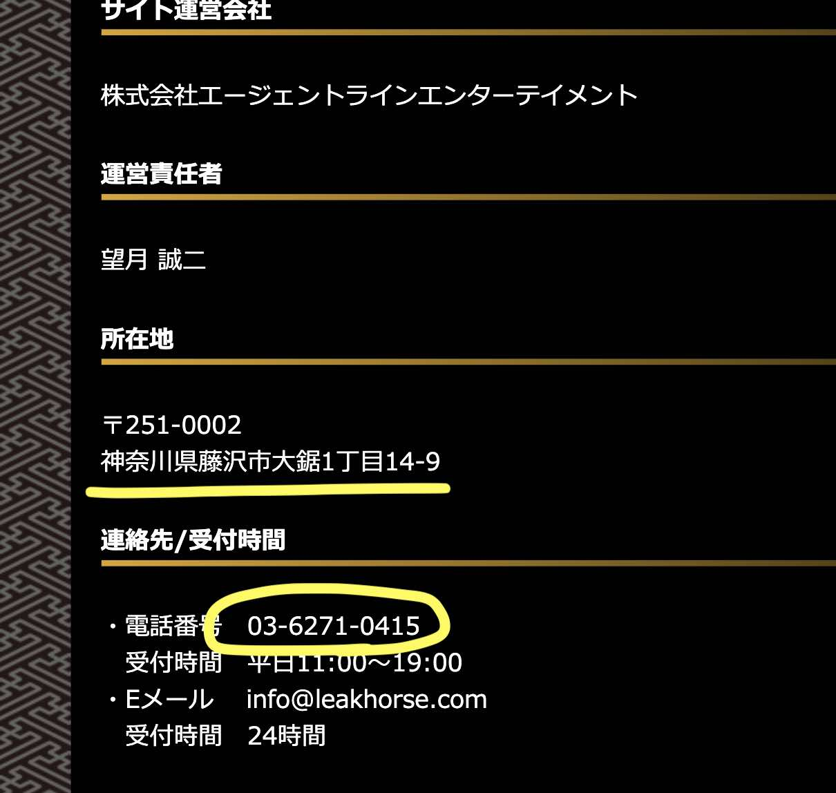 MUTEKIという競馬予想サイトは神奈川県なのに「03」の電話番号