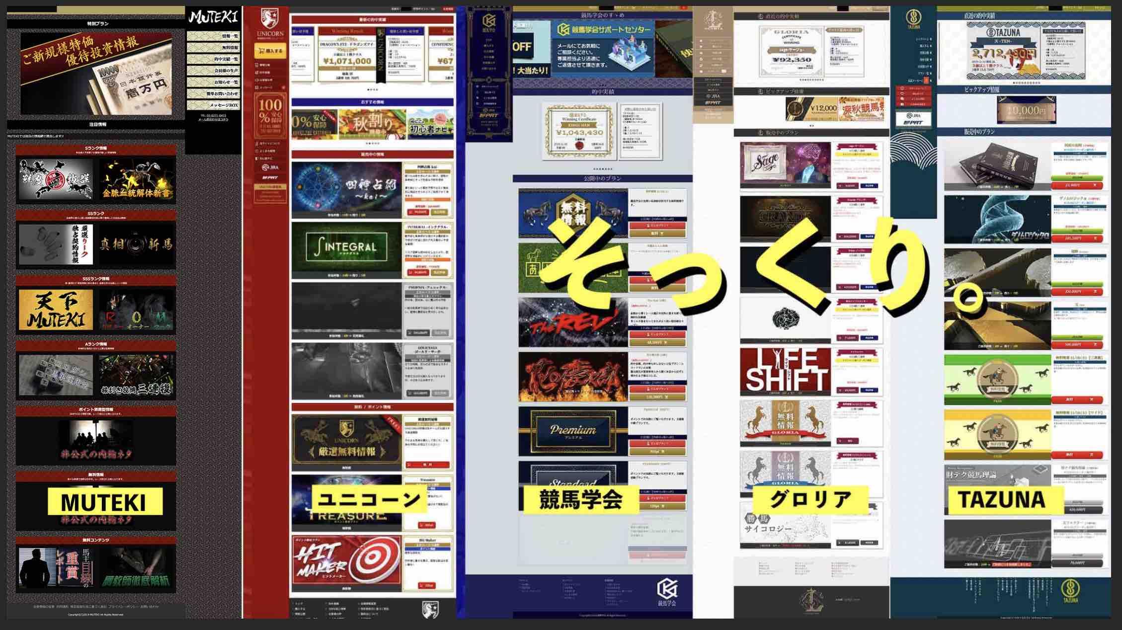 MUTEKIという競馬予想サイトはいつものグループサイトに激似