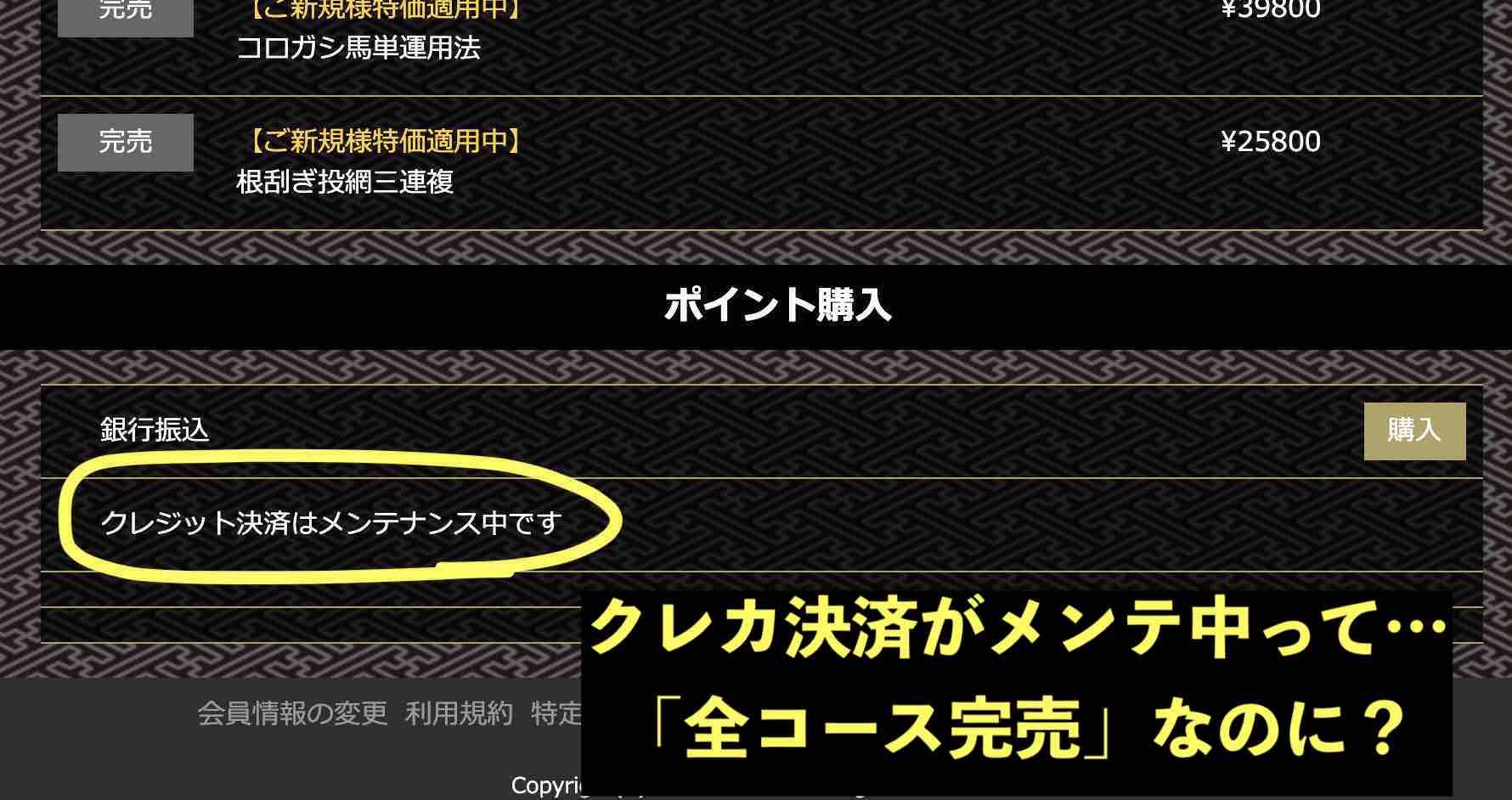 MUTEKIという競馬予想サイトは完売なのにメンテ中w