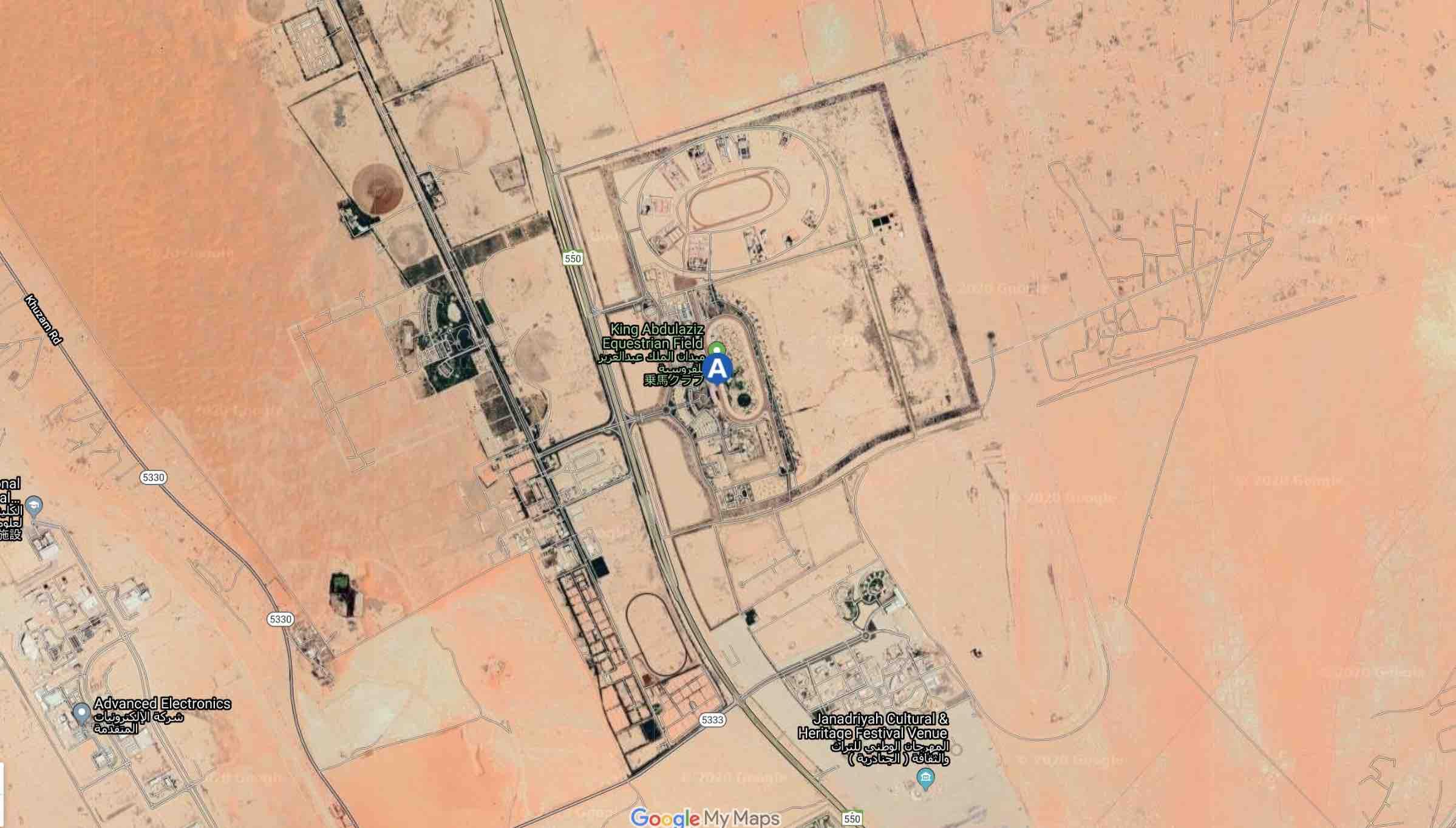 2020年2月29日サウジアラビアの首都リヤドで開催の競馬サウジCのキングアブドゥルアジーズ競馬場の上空画像