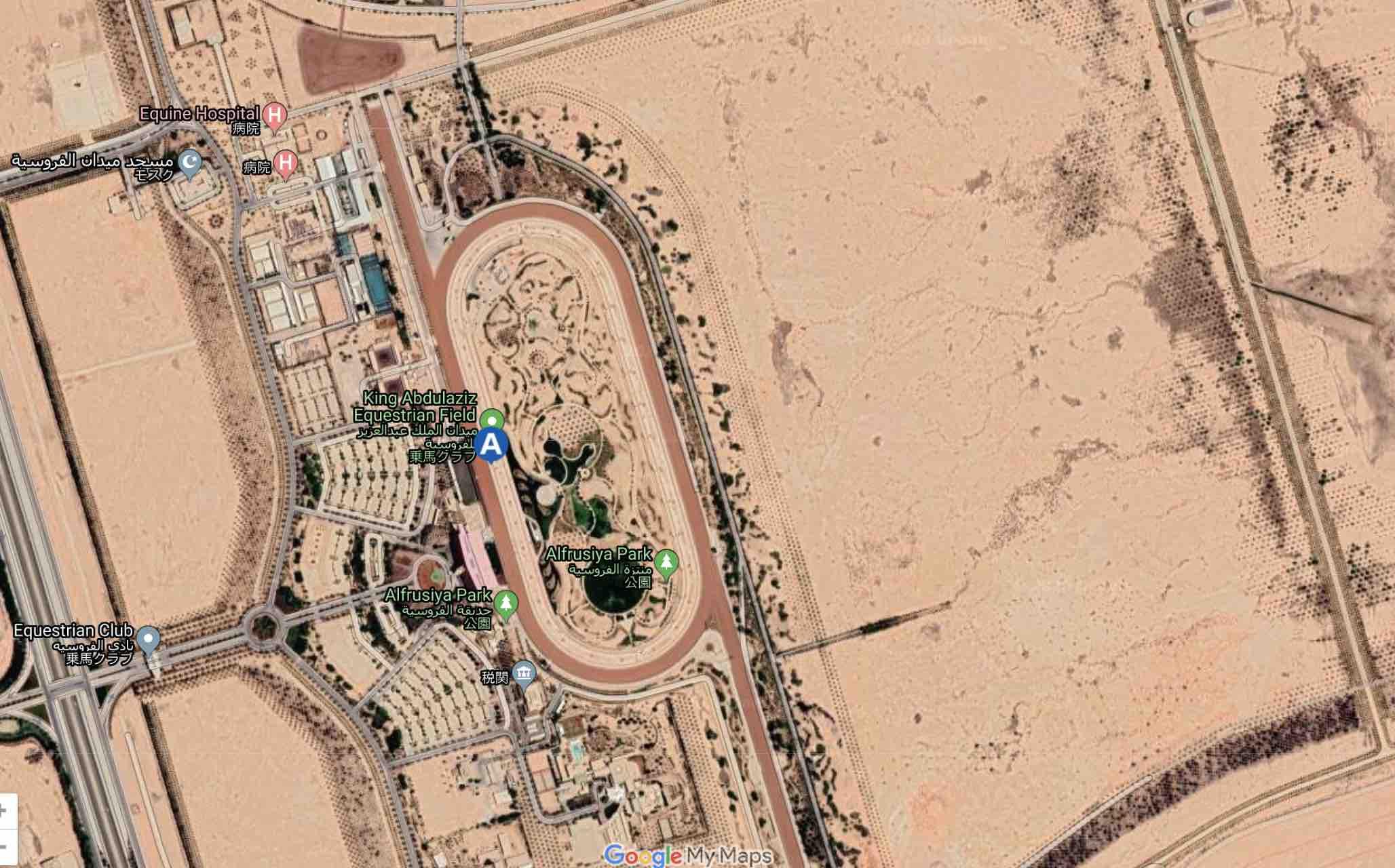 2020年2月29日サウジアラビアの首都リヤドで開催の競馬サウジCのキングアブドゥルアジーズ競馬場の場所