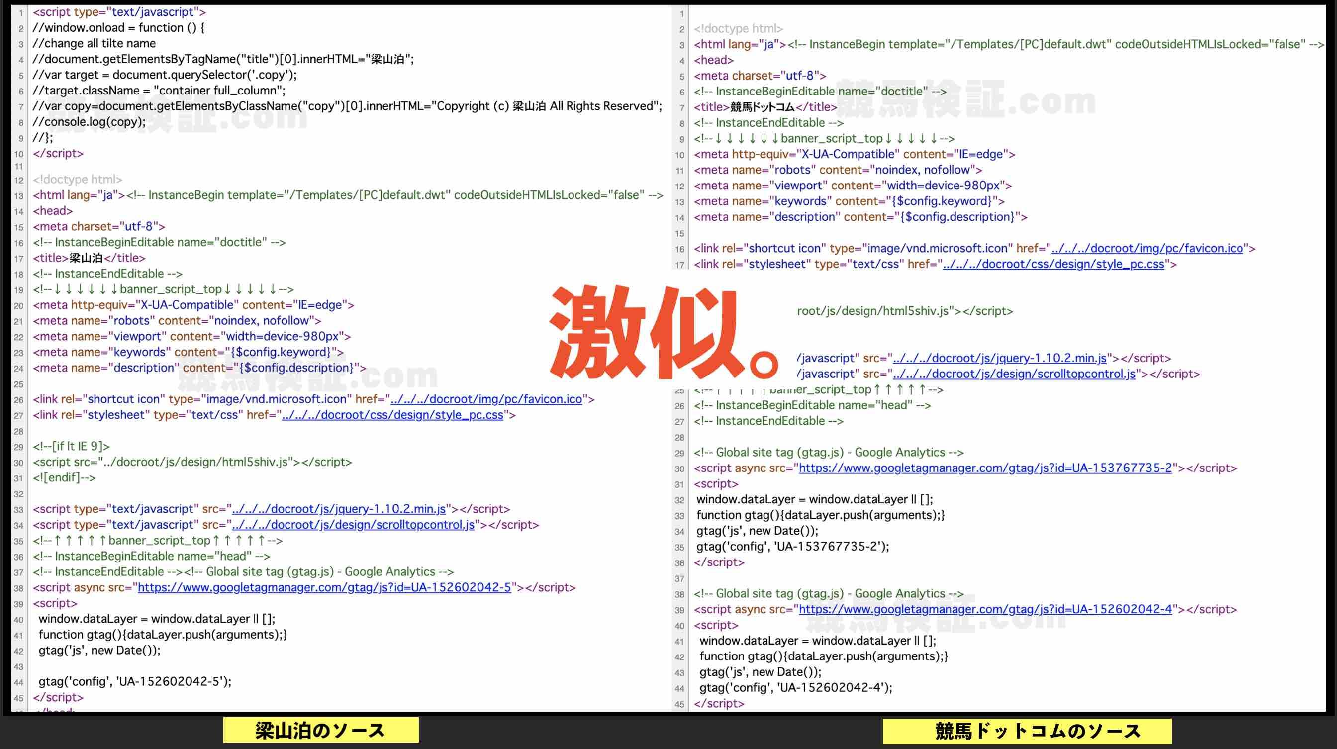 梁山泊という競馬予想サイトとそっくりな競馬.comとソースを見比べた