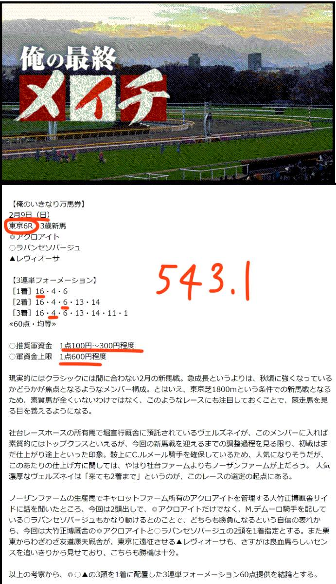 俺の競馬予想という競馬予想サイトの直近の買い目