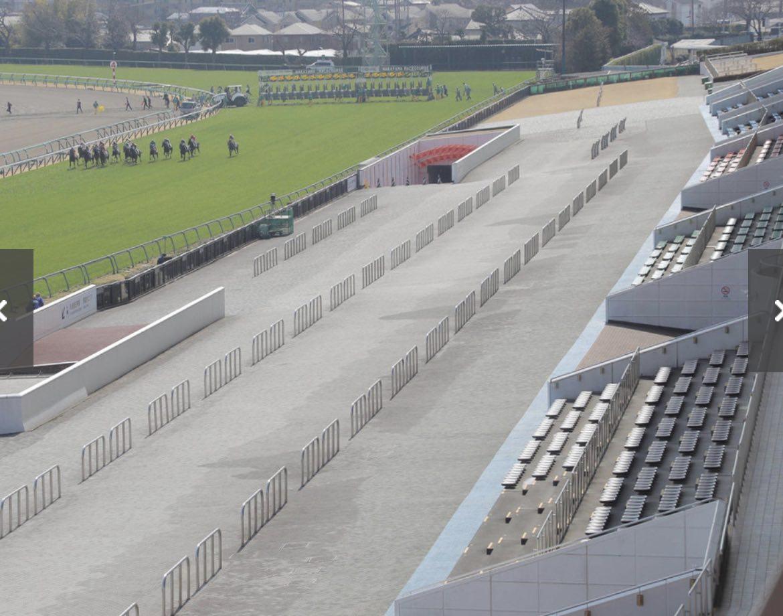 無観客で競馬が行われている、誰もいない中山競馬場