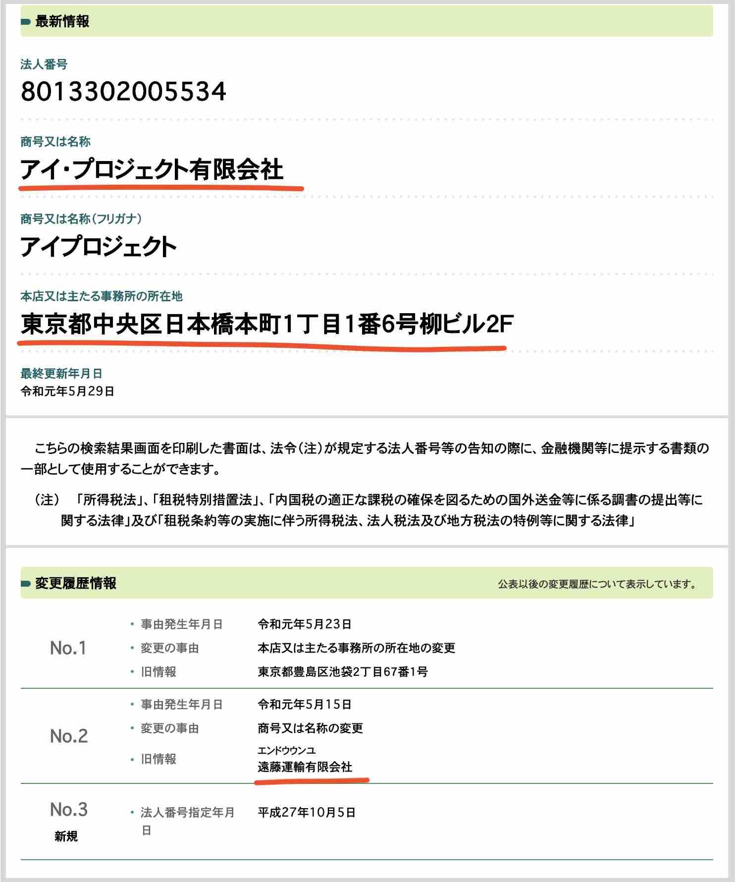 アイプロジェクト有限会社を国税庁サイトから検索