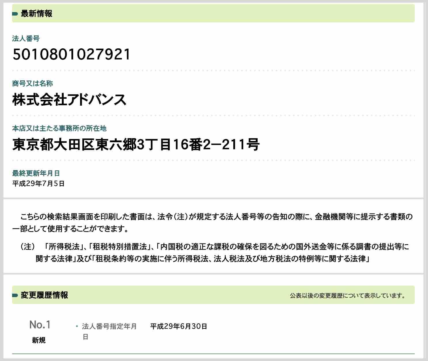 オウマナビという競馬予想サイトの情報を国税庁サイトで発見