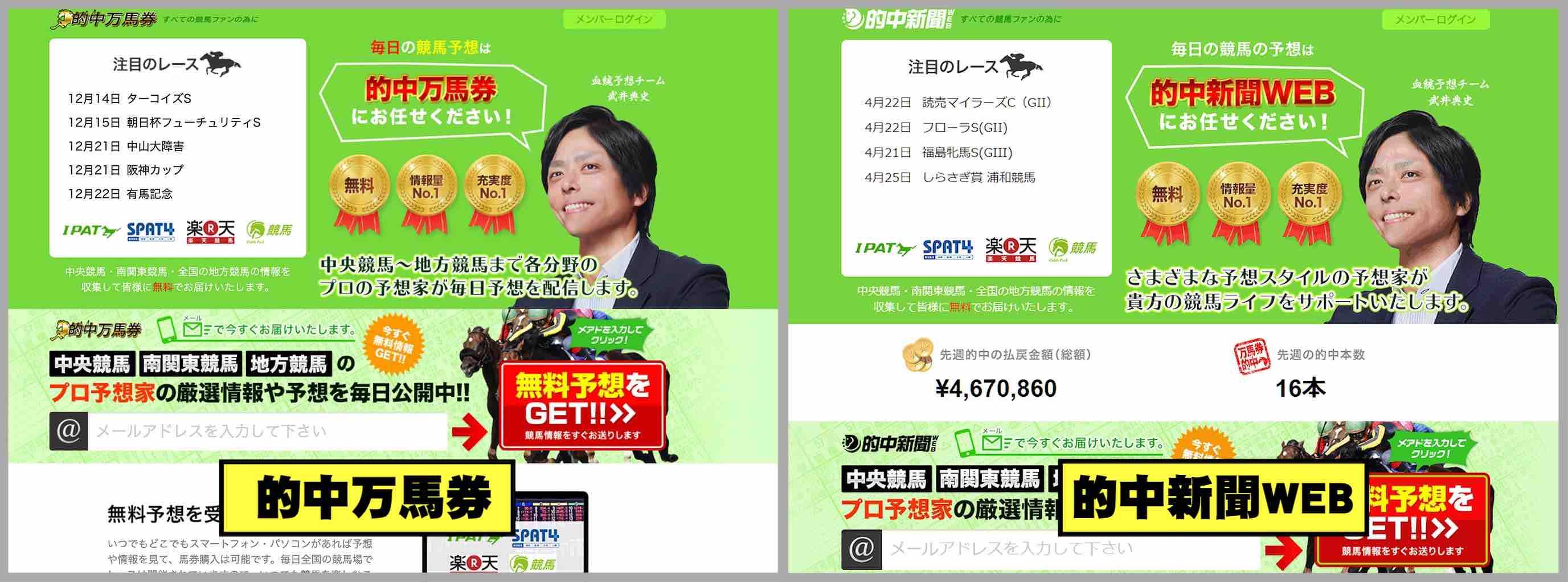 的中万馬券という競馬予想サイトへリニューアルした的中新聞WEB