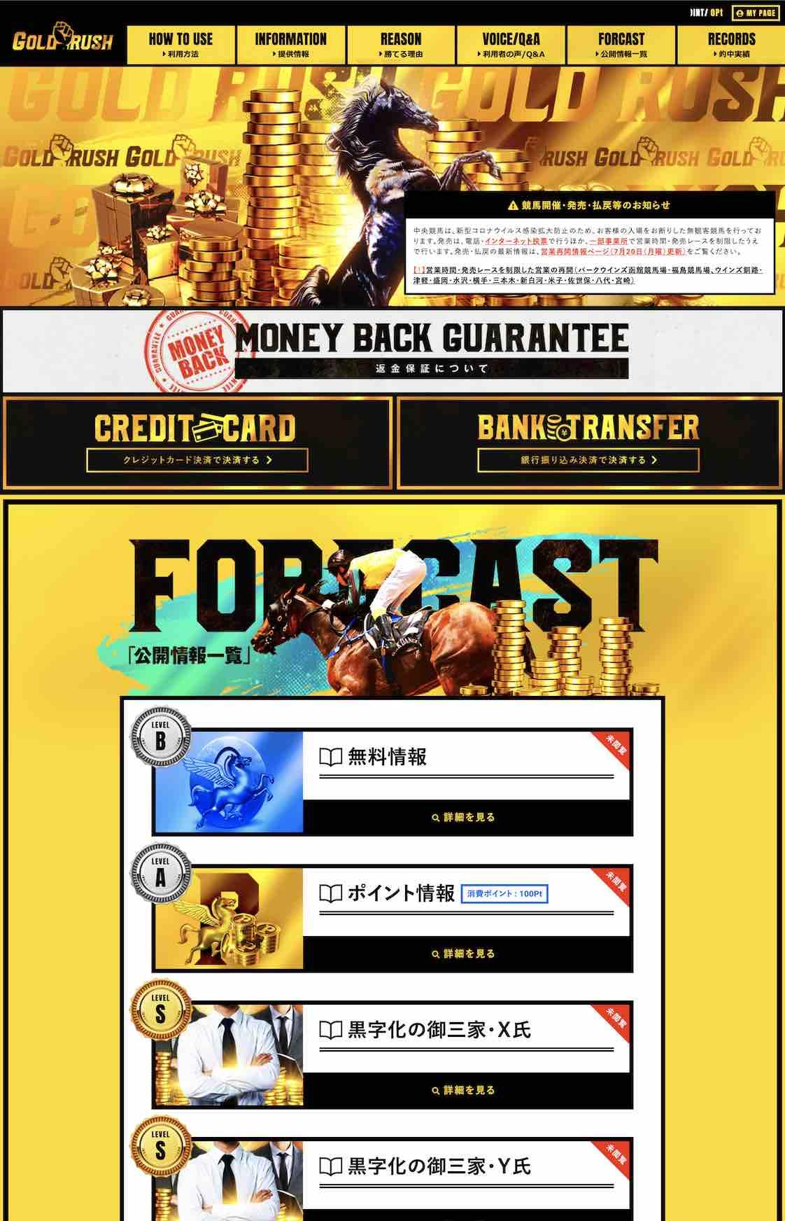 ゴールドラッシュ(GOLDRUSH)という競馬予想サイトの会員ページ