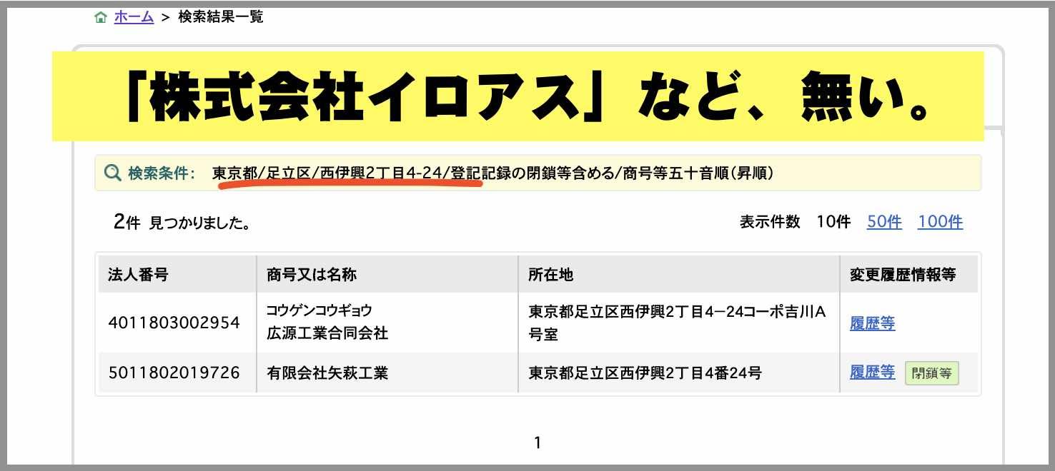 「株式会社イロアス」の住所を国税庁サイトで再検証