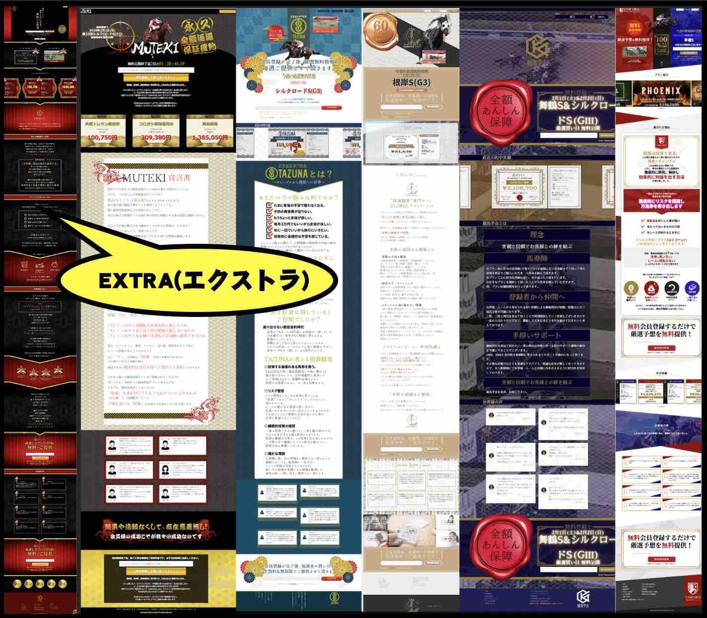 EXTRA(エクストラ)という競馬予想サイトのグループサイトと激似