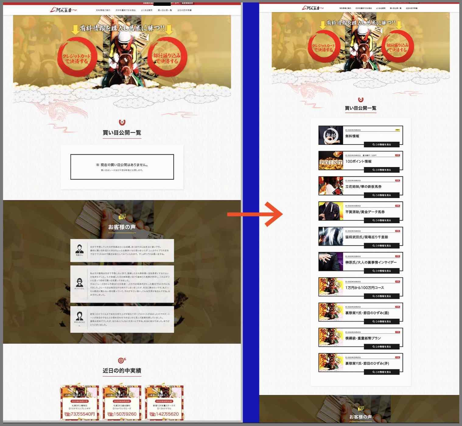 阿九亜屋という競馬予想サイトの会員ページ
