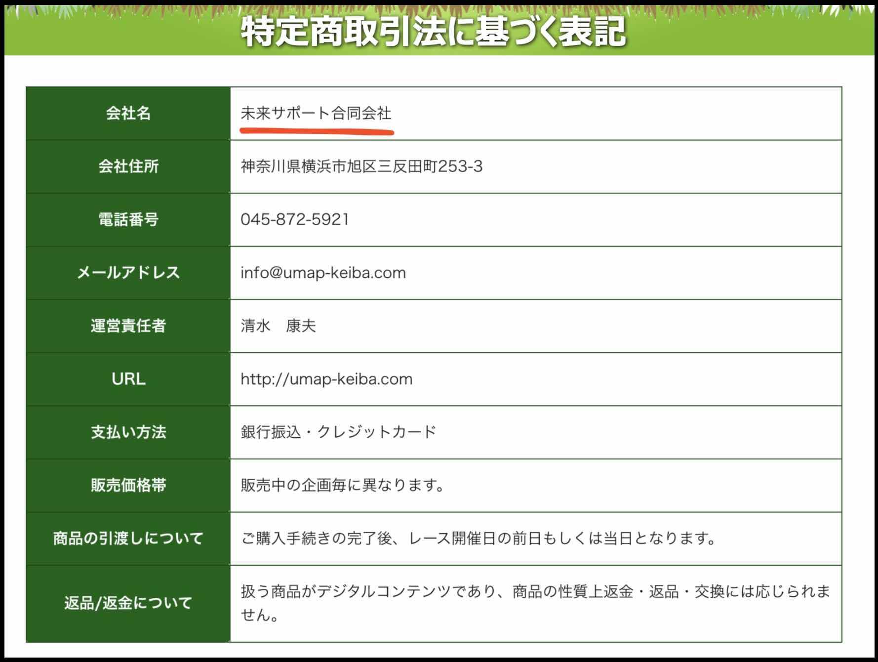 うまっぷという競馬予想サイトの特商法