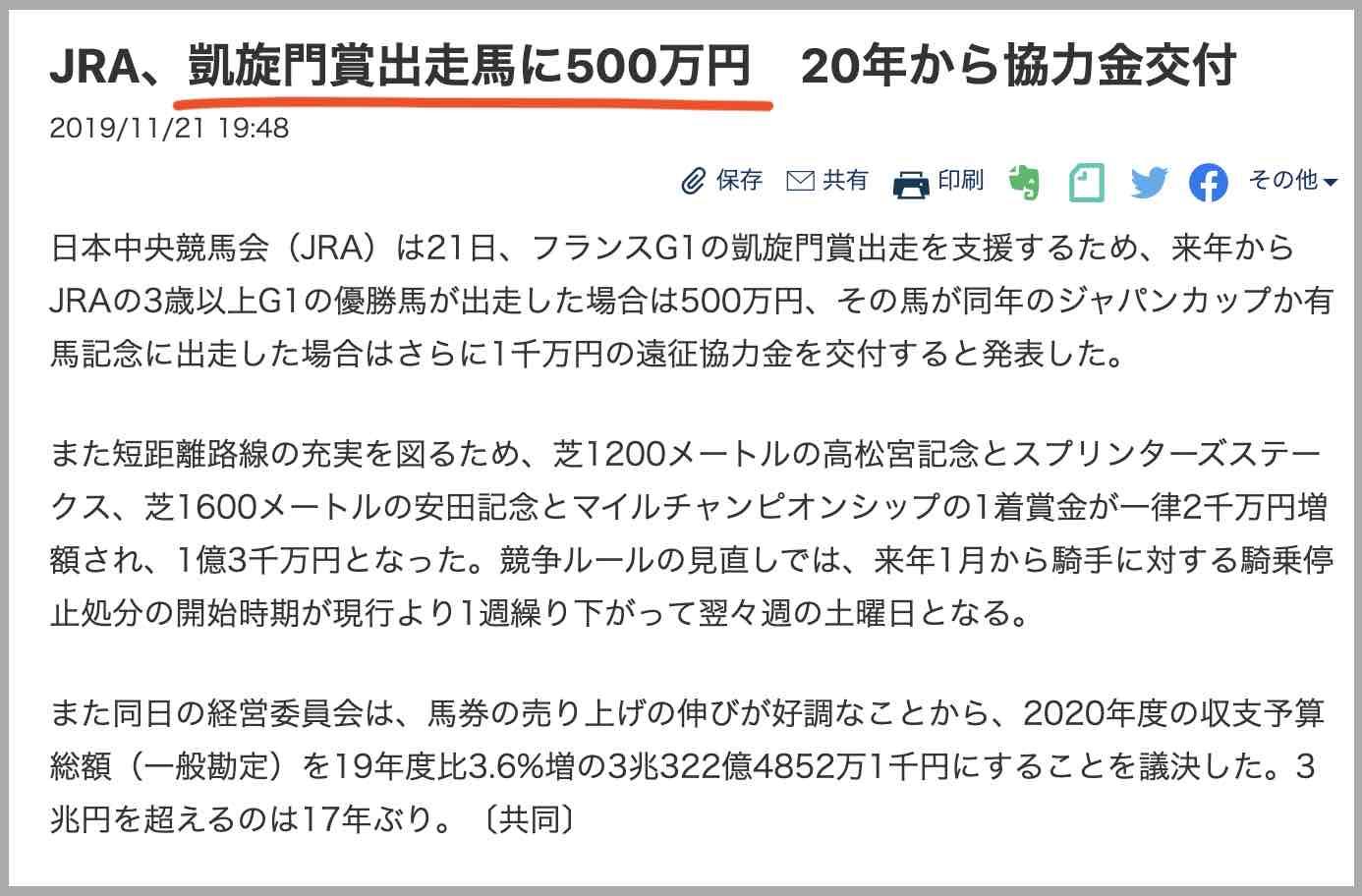 JRAから凱旋門賞出走馬に500万円