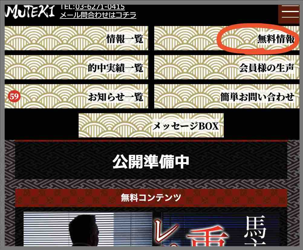 MUTEKIという競馬予想サイトの無料予想(無料情報)を確認する