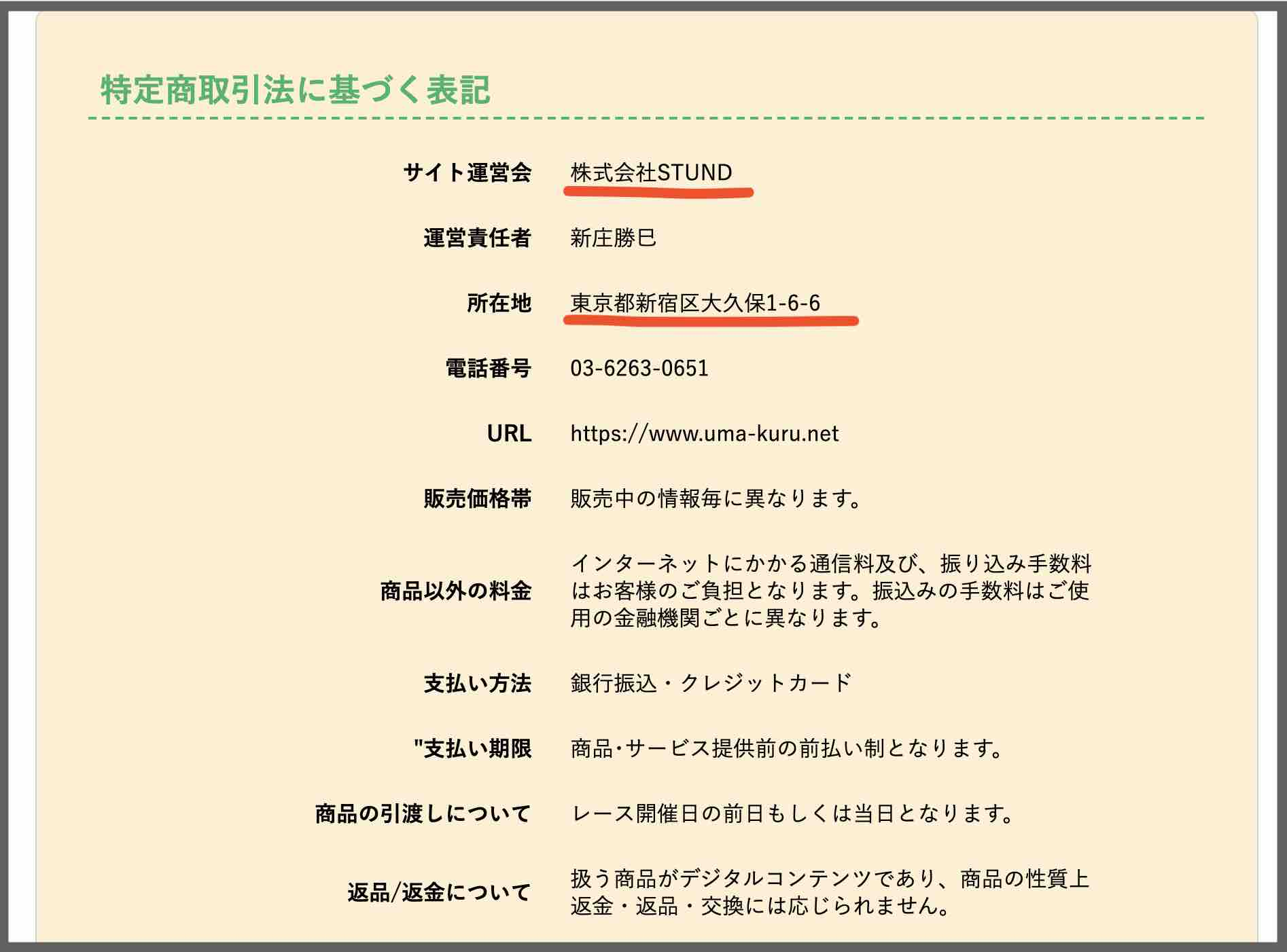 ウマくる(馬くる)という競馬予想サイトの特商法ページ