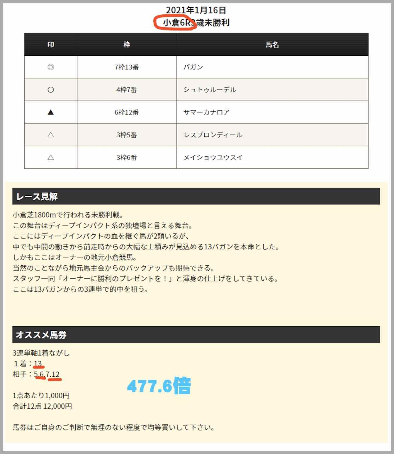 血統シックス(血統6)と言う競馬予想サイトで提供された的中した買い目