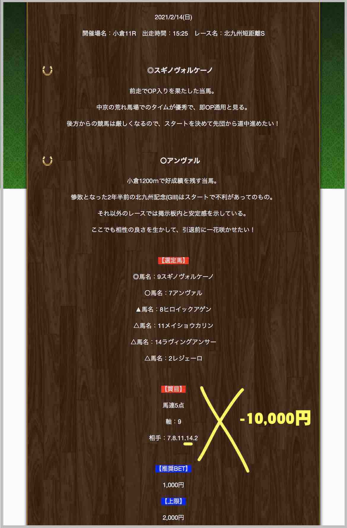 ラッキー競馬の無料予想(無料情報)の抜き打ち検証(小倉11R 門司S)