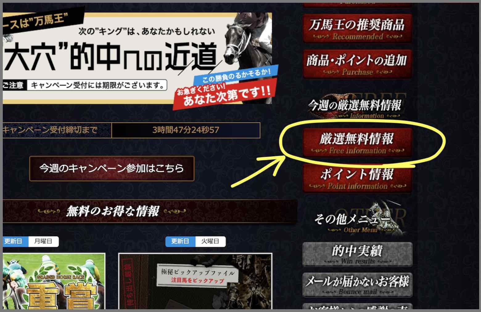 万馬王という競馬予想サイトの無料予想(無料情報)を確認する