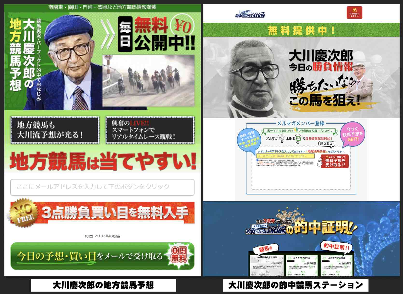 大川慶次郎の的中競馬ステーションという競馬予想サイトにリニューアル