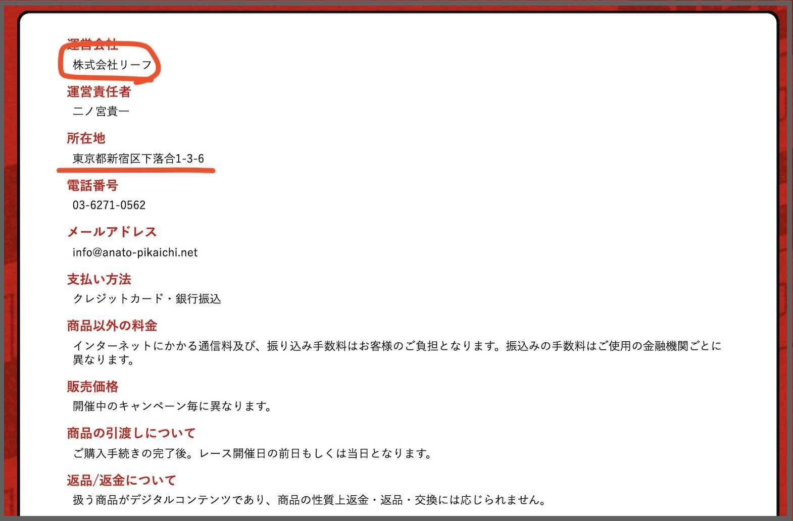 穴党ピカイチという競馬予想サイトの運営社情報