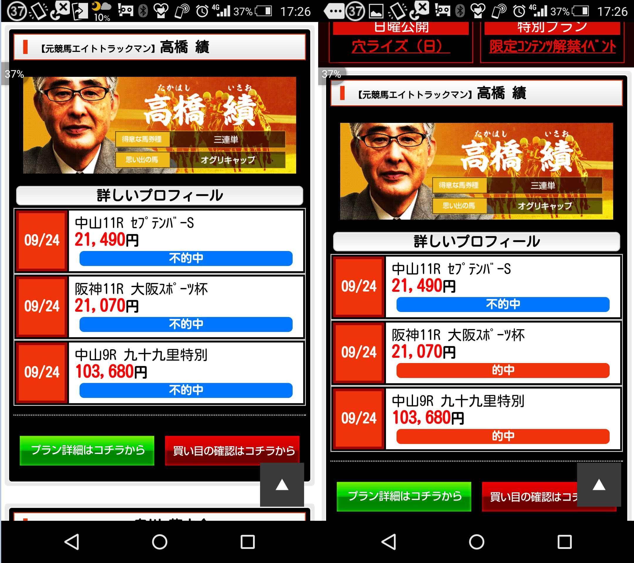 勝馬の栞という競馬予想サイトの利用者によって配信してる的中結果が違う証拠画像